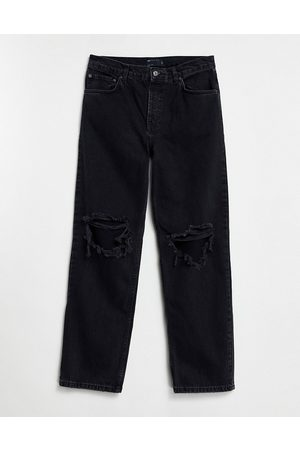 ASOS DESIGN Low rise straight leg jeans in with knee rips