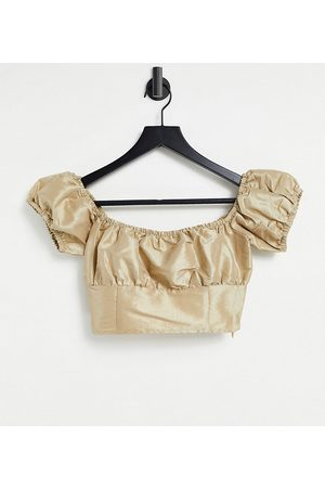Collective The Label Ruched off-shoulder metallic co-ord top in gold-Multi
