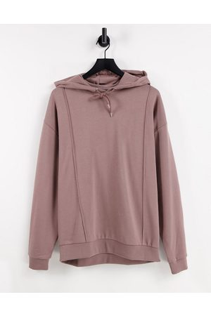 ASOS Oversized hoodie with pintucks in washed brown