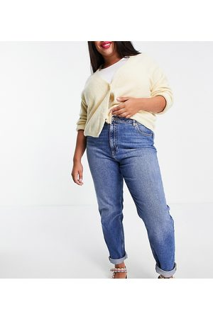 ASOS ASOS DESIGN Curve high rise 'Farleigh' slim mom jeans in authentic mid wash-Blue