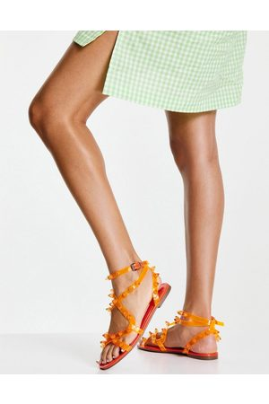 ASOS DESIGN Font clear strappy studded sandals in
