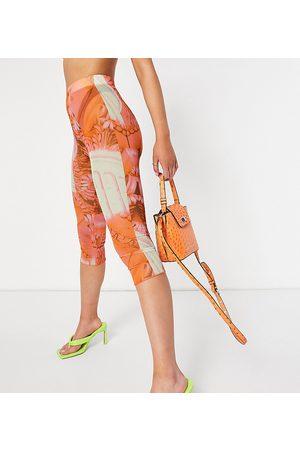 AsYou Colourful renaissance mesh co-ord capri leggings in