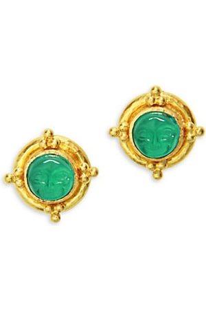 Elizabeth Locke Man-In-The-Moon 19K Yellow Gold & Venetian Glass Intaglio Stud Earrings