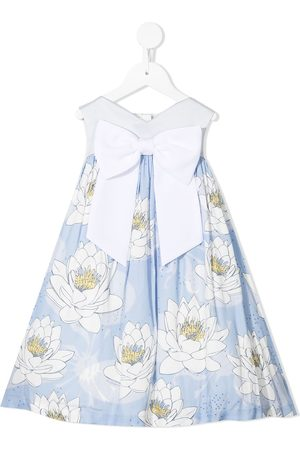 Hucklebones London Girls Printed Dresses - Sweetheart floral-print trapeze dress