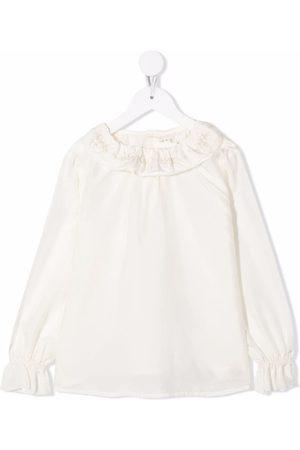 BONPOINT Girls Blouses - Jaya ruffle-trim silk blouse