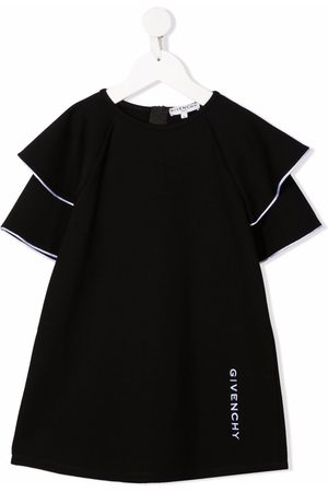 Givenchy Kids Embroidered-logo ruffled-sleeves dress