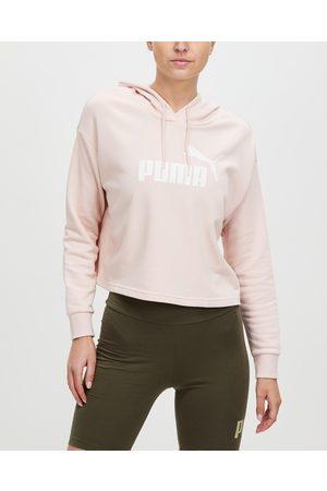 Puma Women Hoodies - Essentials Logo Cropped Hoodie - Hoodies (Lotus) Essentials Logo Cropped Hoodie