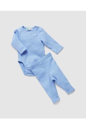 Little Green & Co Baby Rompers - Rib Long Sleeve Bodysuit & Leggings Set Babies - Longsleeve Rompers Rib Long Sleeve Bodysuit & Leggings Set - Babies