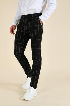 Boohoo Mens Skinny Windowpane Check Tailored Trouser