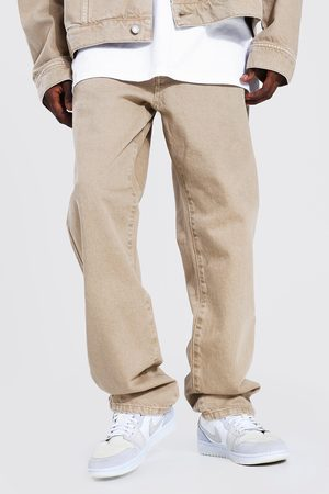 Boohoo Mens Tan Relaxed Fit Jean