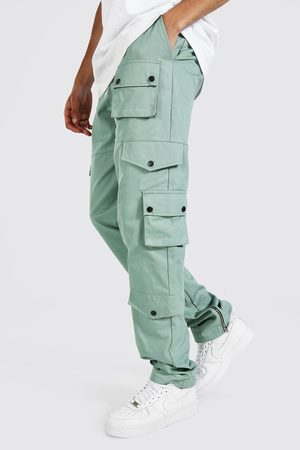 Boohoo Mens Sage Tall Relaxed Fit Twill Cargo Trouser