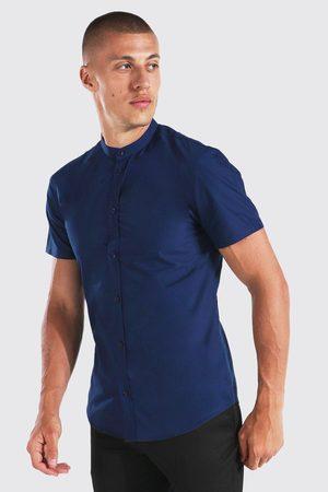 Boohoo Mens Navy Slim Fit Grandad Collar Short Sleeve Shirt