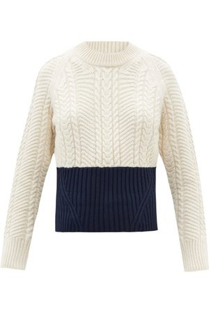 Alexander McQueen Bi-colour Wool-blend Cable-knit Sweater - Womens - Ivory