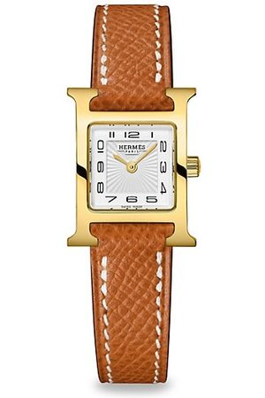 Hermès Heure H Gold-Plated Stainless Steel & Leather Strap Watch