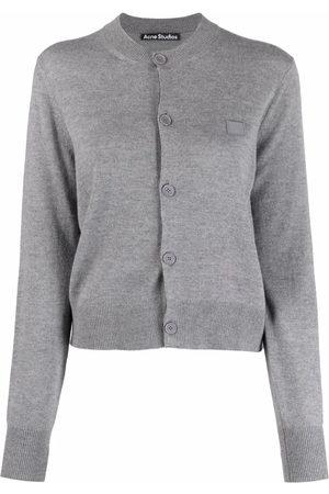 Acne Studios Women Cardigans - Logo-patch fine-knit cardigan