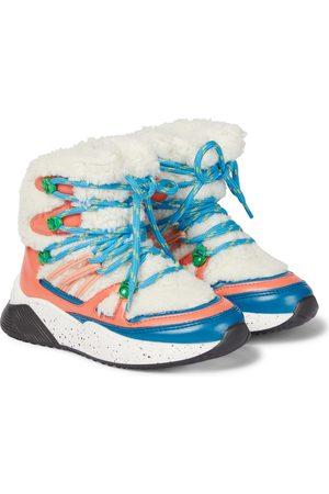 Stella McCartney Kids Colorblocked fleece-trimmed ankle boots