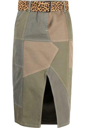 Pinko Women Pencil Skirts - Belted patch-work midi skirt