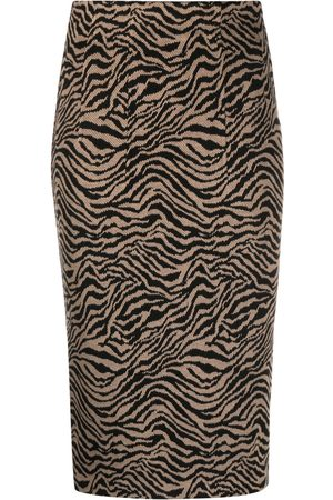 Pinko Women Printed Skirts - Tiger-print pencil skirt