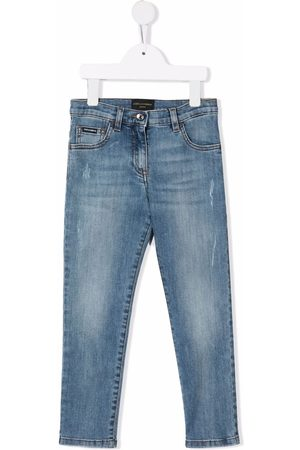 Dolce & Gabbana Logo patch distressed jeans