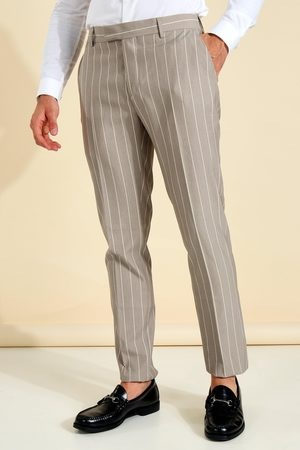 Boohooman Mens Taupe Skinny Pinstripe Tailored Trouser