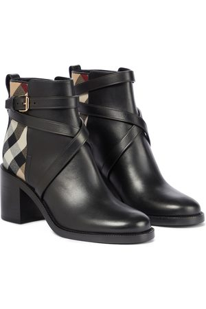 Burberry Archive Check leather ankle boots