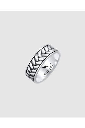 Kuzzoi Ring Mens Band Ring Herringbone Vintage in 925 Sterling - Jewellery Ring Mens Band Ring Herringbone Vintage in 925 Sterling