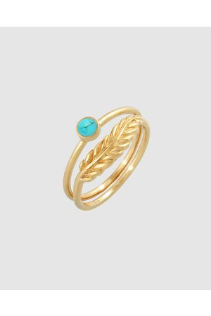 Elli Jewelry Ring Set Feather Howlite Turquoise Summer Trend in 925 Sterling Silver Plated - Jewellery Ring Set Feather Howlite Turquoise Summer Trend in 925 Sterling Silver Plated
