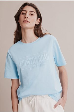 COUNTRY ROAD Verified Australian Cotton Heritage Embroidered T-Shirt - Ice