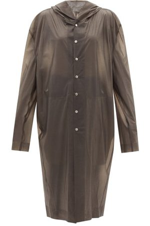 Rick Owens Hooded Rubber-coated Tulle Coat - Womens