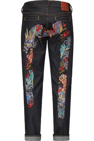 Evisu Multicolor Dragon Daicock Embroidered Carrot Fit Jeans #2017