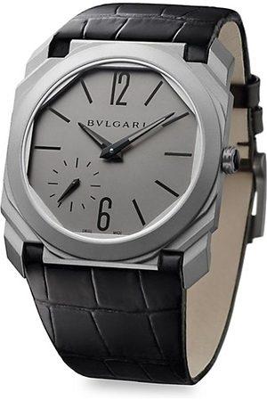 Bvlgari Octo Finissimo Titanium Alligator Leather Strap Watch