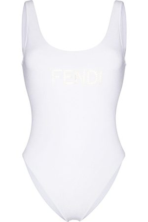 Fendi Women Swimsuits - Embroidered cut-out logo swimsuit