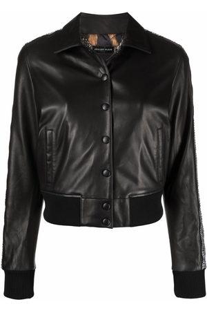 Philipp Plein Crystal-embellished leather jacket