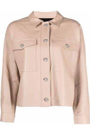 Philipp Plein Women Leather Jackets - Leather cropped shirt jacket