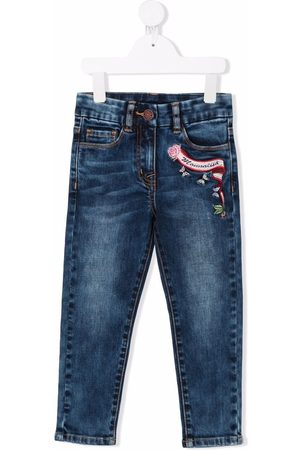 MONNALISA Girls Jeans - Logo-embroidered jeans