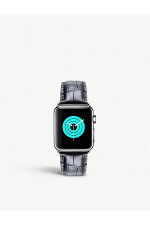 Mintapple Apple Watch alligator-embossed leather strap and stainless steel case 42mm/44mm