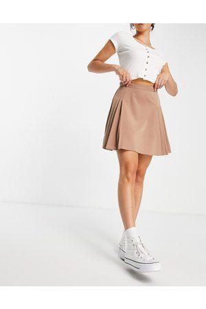 Lola May Women Mini Skirts - Pleated tennis mini skirt in cappuccino-Brown