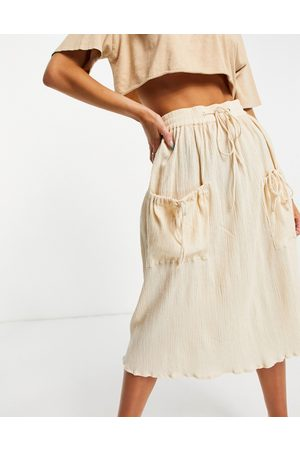 ASOS Midi skirt with drawstring waist in natural crinkle in -White