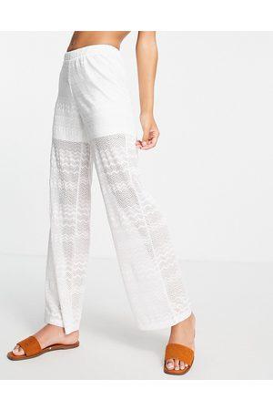 VILA Crochet wide leg beach pants co-ord-White