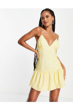 ASOS Cami plunge textured pep mini dress in