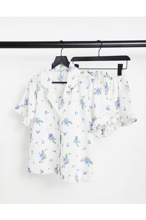 ASOS Linen floral pyjama shirt & shorts set with frill in -White