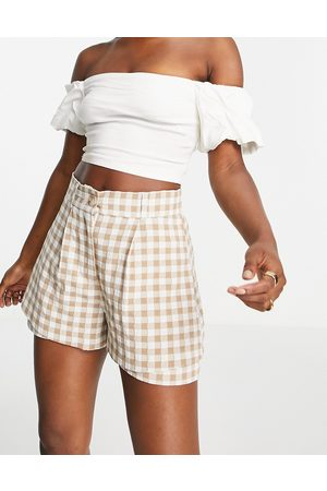 River Island Gingham check co-ord shorts in brown
