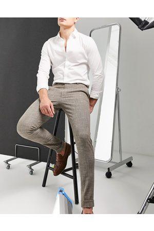 ASOS Men Skinny Pants - Super skinny smart pants in cross hatch-Neutral