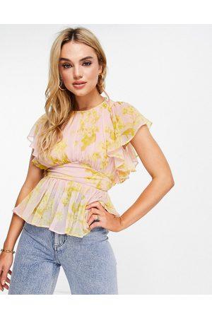 ASOS Flutter sleeve top in floral print