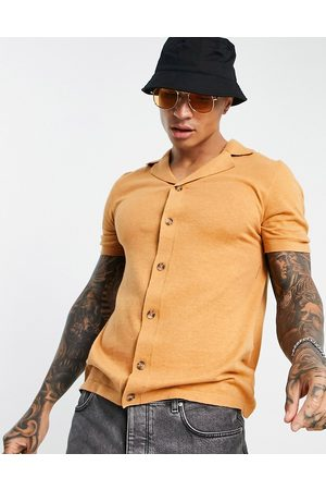 ASOS Knitted button through shirt in -Brown