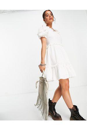 Topshop Women Mini Dresses - Laundered broderie mini tea dress in -White