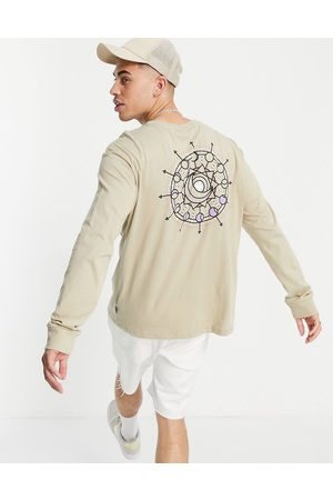 Only & Sons Oversized long-sleeved T-shirt with mystic back print in beige-Neutral