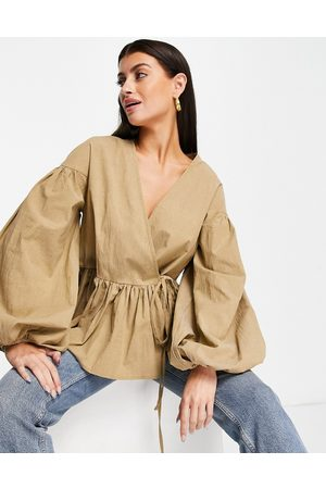 ASOS Oversized wrap smock top with blouson sleeve in -Neutral