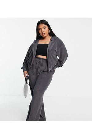 ASOS Women Hoodies - ASOS DESIGN Curve co-ord towelling hoodie-Grey
