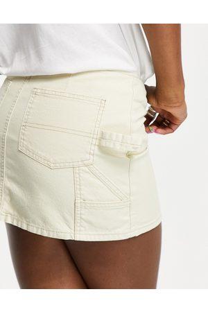 ASOS Denim low rise utility skirt in -Neutral
